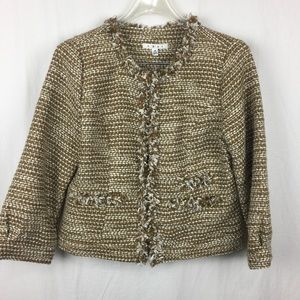 Cabi NWT Phoebe tan gold tweed boucle blazer- M